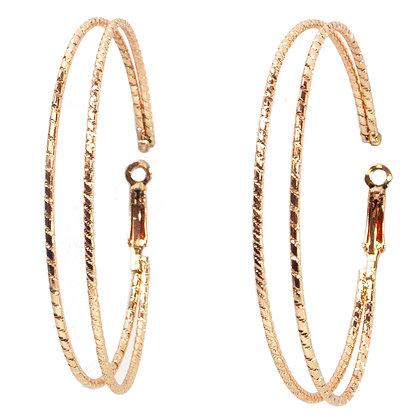 Rose Gold Double Hoop Earrings - TROY 100 RGDH