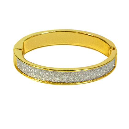 Gold Cuff Bracelet with Silver Glitter