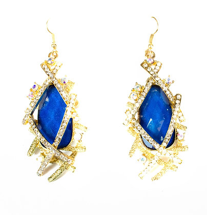 Blue Stoned Multi Crystal Earrings - Model: 299 HE4125
