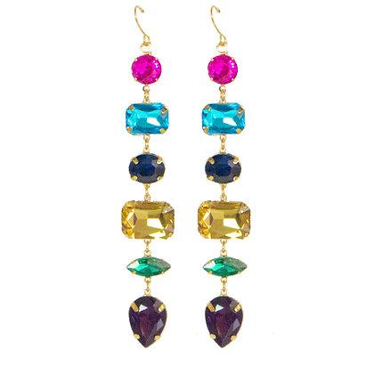 Multi Color Crystal Drop Earrings - TROY 4567