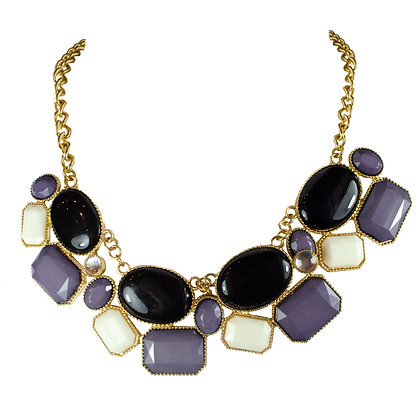 Black White Purple Stoned Gold Chain Necklace - 168 S2173