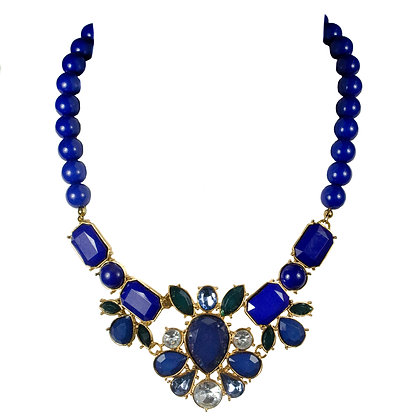 Blue Stoned Crystal and Gold Necklace
