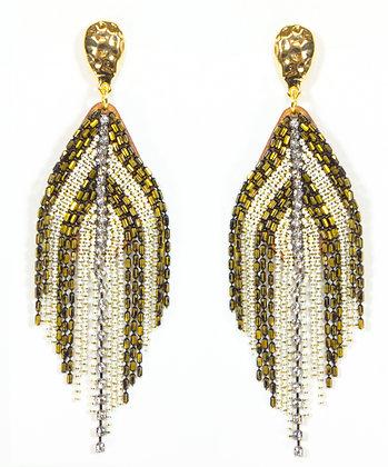 White Gold Beaded Earring - Model: 445-JFE1067
