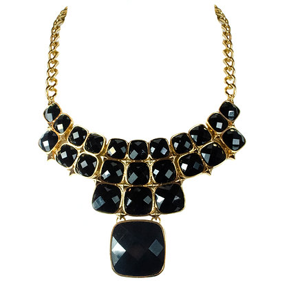 Black Stoned Gold Necklace - 2 SJS7499