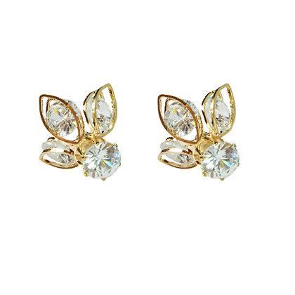 Crystal Petal Gold Earrings