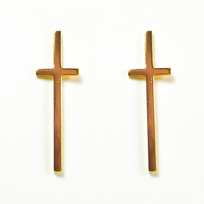 Shiny Gold Cross Earrings - TROY CRS2