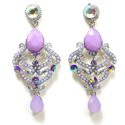 Light Purple Stoned Multi Color Crystaled Earrings - TROY 100 LPM