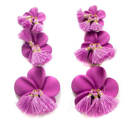 Lilac Tasseled Petal Earrings - TROY 100 LTP