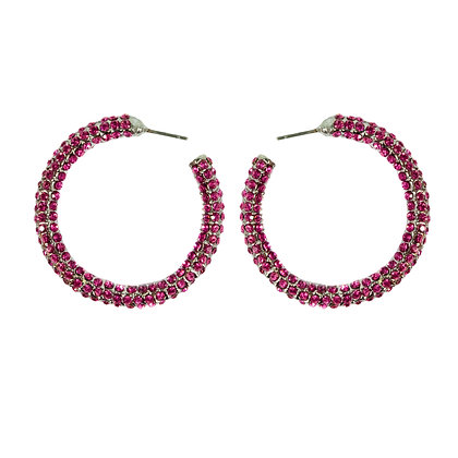 Pink Crystaled Silver Small Hoop Earrings