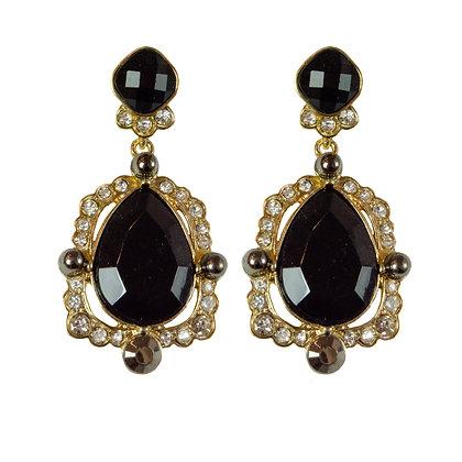 Crystaled Black Stone Gold Earrings