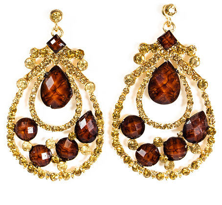 Brown Crystal Gold Stoned Earrings - TROY 1288