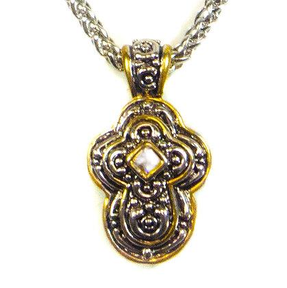 Crystaled Gold Framed Silver Pendant Necklace - 15 GKY017