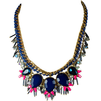Blue Stoned Pink Detailed Gold Necklace