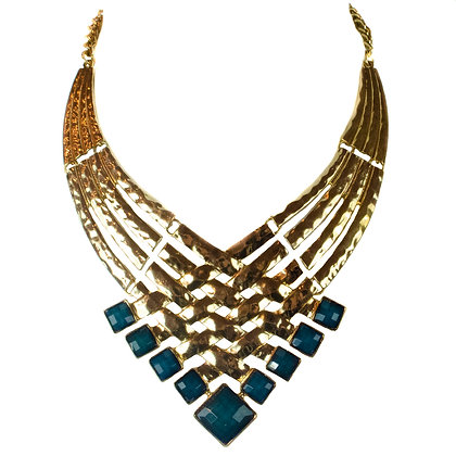 Gold Teal Chunky Statement Necklace