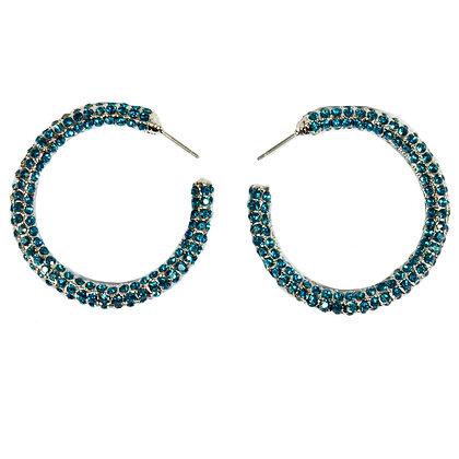 Light Blue Crystaled Silver Small Hoop Earrings