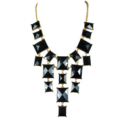 Black Stoned Gold Chain Necklace Set - 168 S7976