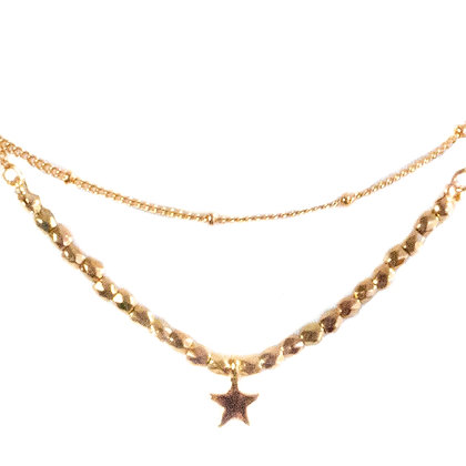 Gold Beaded Dainty Star Necklace - TROY 5457