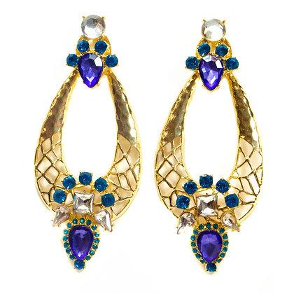 Light Blue Light Violet Stoned Gold Earrings - TROY 995