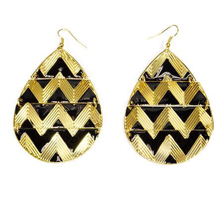 Black Pattern Gold Drop Earrings - Model: 408-GER6138
