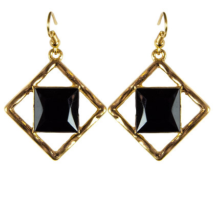 Black Stoned Diagonal Gold Earring