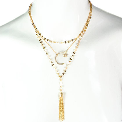 Gold Crescent Star Crystal Necklace