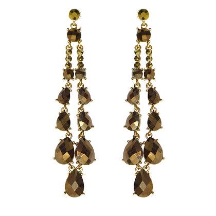 Brown Stoned Drop Earrings