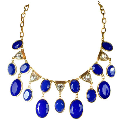 Blue Stoned White Crystal Gold Necklace