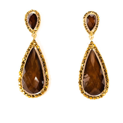 Gold and Brown Drop Earrings - Model: 2 SLE9007