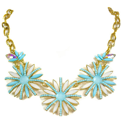 Light Blue White Flowered Gold Chain Fashion Necklace