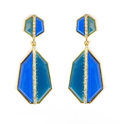 Blue Green Stoned Crystal Lining Earrings - Model: 825 EB0402