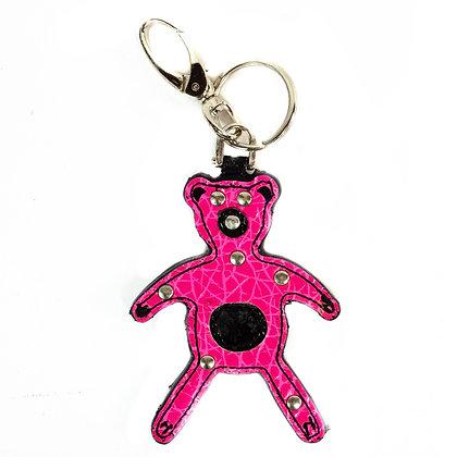 Pink Leather Bear Key Chain - Model: T4325