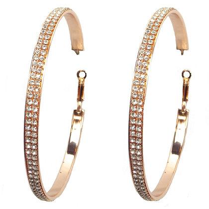 Crystaled Big Rose Gold Hoop Earrings - TROY 100 RGBH