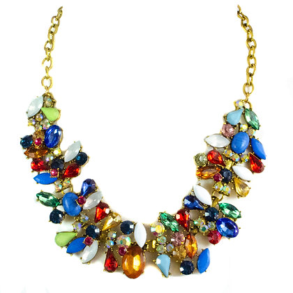 Rainbow Colored Stoned Statement Necklace