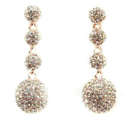 Crystaled Rose Gold Ball Earrings - TROY 4168