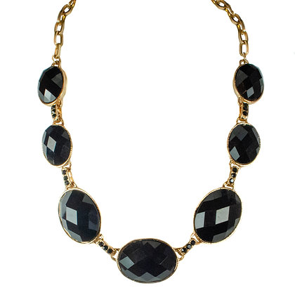 Black Stoned Gold Chain Necklace - 2 SUS7837