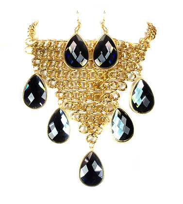 Smoke Colored Stoned Gold Chain Necklace Set - Model: Model: 705 JNE1754