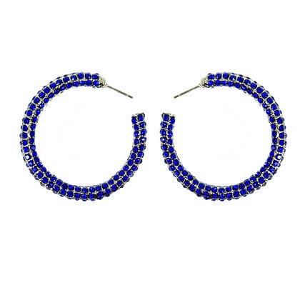 Dark Blue Crystaled Silver Small Hoop Earrings