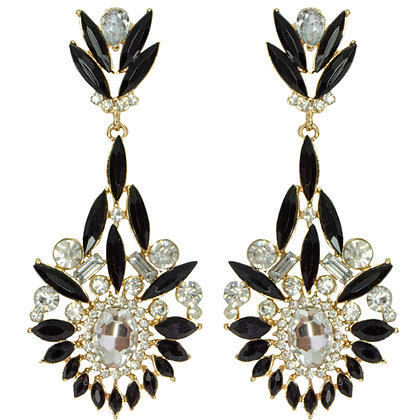 Black Stone Feathered Crystal Earring