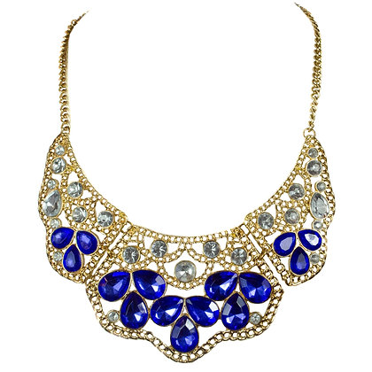 Blue Crystaled Gold Necklace