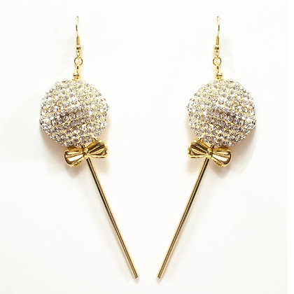 Gold Disco Ball Bowtie Earrings - 100 12345