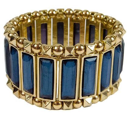 Navy Stoned Gold Lastic Bracelet