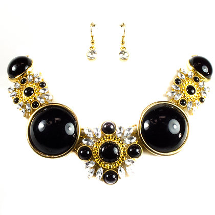 Black and Gold Semi Globe Necklace Set - Model: 299 TNE11096