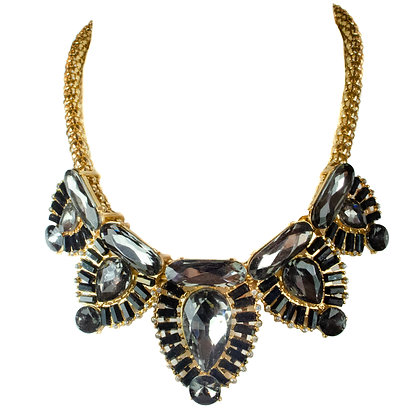 Gray Crystaled Gold Necklace - 19 31224