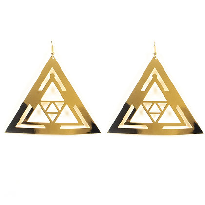 Gold Triangle Earrings - TROY TRI