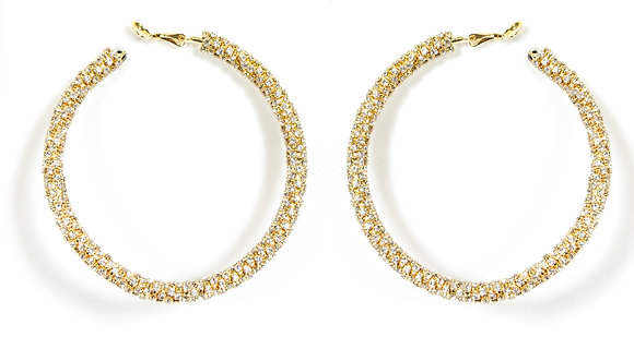 Gold Stoned Hoop Earring - Model: 257-25588