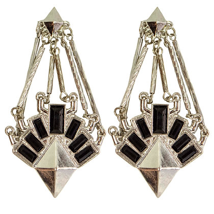 Silver Black Stoned Chained Earrings