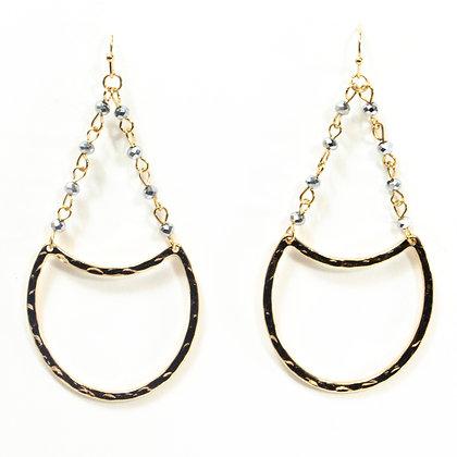 Silver Beaded Gold Chandelier Earrings - 74 ANE20009