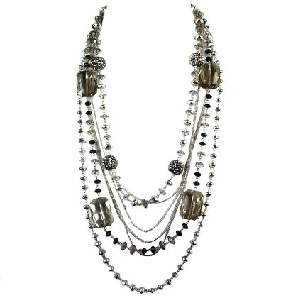 Gray Beaded Statement Necklace