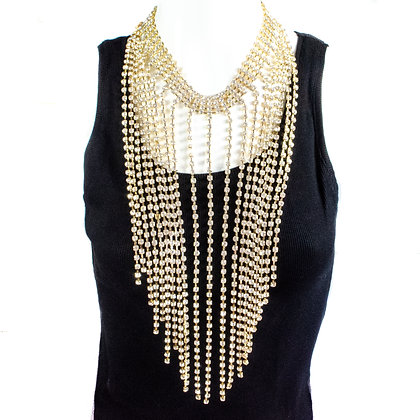 Gold Statement Rhinestone Tasseled Necklace - TROY 5225