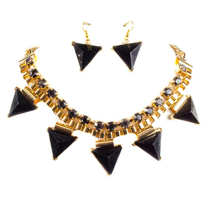 Black Triangular Necklace Set - Model: 257 13773